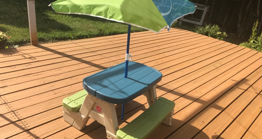 Step2 sit and play kids picnic table with umbrella mom blossoms watchthetrailerfo